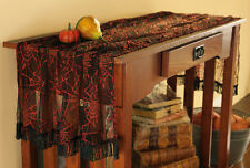 NEW Halloween Sale Lace Spider Web Table Runner Linens Orange & Black 60x24
