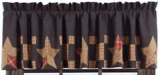 "Navy Blue Country Star Window Valance Irish Chain Patchwork 72"" Lined Arlington"