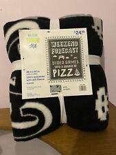 Nwt Kids Fleece Throw Blanket- Gamer Weekend Video Games Pizza Theme -No Sew Kit