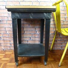 Vintage Industrial Trolley Table with Wooden Top