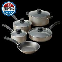 Kitchen Cookware Set 9 Piece Pots And Pans Nonstick Cooking Stainless Champagne