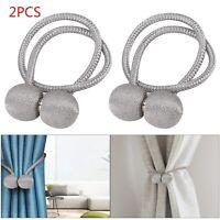 2× Silver Magnetic Ball Curtain Tiebacks Tie Backs Buckle Clips Holdbacks UK