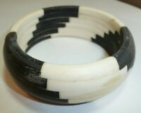"ANTIQUE Circa 1890 Inlaid White & Black Bone 1"" W Bangle Bracelet 66 grams"