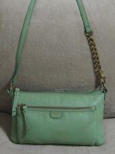 FOSSIL Small Light Lime Green Leather Messenger Crossbody Sling Shoulder Bag