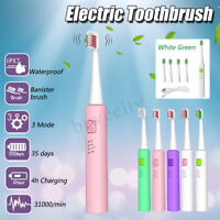 Rechargeable 3 Mode USB Acoustic Wave Waterproof Electric Toothbrush + 4 Brushes