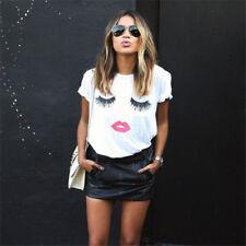 UK Womens Eyelash Summer Loose Tops Short Sleeve Ladies Blouse T Shirt Plus Size
