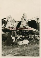 *WWII photo- US GI View of Captured German FIGHTER plane Wrecks (#621426)*