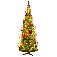 6ft Pre-Lit Christmas Tree Fully Decorated Pull Up Tree Flat-to-Fabulous w/Light