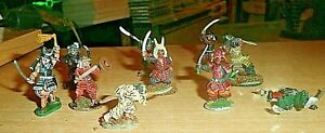 10 PAINTED Ral Partha SAMAURAI WARRIORS: 25mm METAL DUNGEON  DRAGONS PATHFINDER
