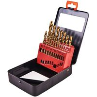 19pc HSS HIGH SPEED STEEL DRILL BIT SET TITANIUM COATED NEW 1mm -10mm in Case