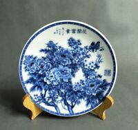 Chinese old Blue and white porcelain Hand Painted Flowers blooming plate