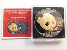 China 10 Yuan 2018 Panda Silber 999 mit schwarz Ruthenium + 999 Vergoldung👌(D2
