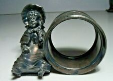Victorian Figural Napkin Ring, Silverplate, Sitting Kate Greenaway, Derby Silver