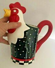 """Vtg RUSS BERRIE Ceramic ROOSTER PITCHER Black Polka Dot Red White Checker 10"""" H"""