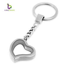 30mm Alloy Silver Heart Shape Floating Charm Memory Locket Key Chain