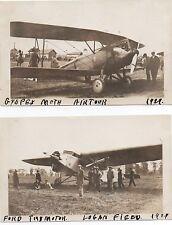 Two 1929 Air Tour Photos Ford Trimotor Airplane at Logan Field Alabama
