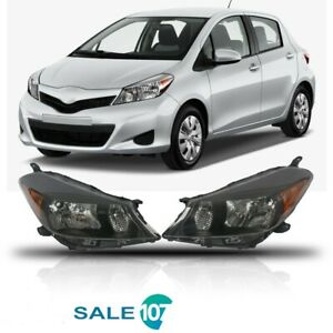 For 2012 2014 Toyota Yaris Hatchback Headlights Headlamps Housing Black Set x 2