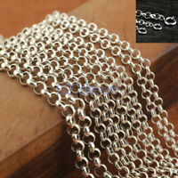 4mm Belcher Chain 925 Sterling Silver Rolo Necklace 16 18 20 22 24 26 28 30inch