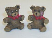 Mini Hand Painted Ceramic Teddy Bear Salt and Pepper Shaker Set