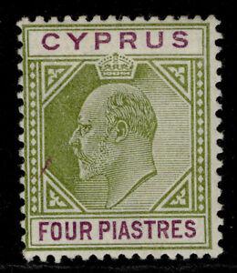 CYPRUS EDVII SG54, 4pi olive-green & purple, M MINT. Cat £60.
