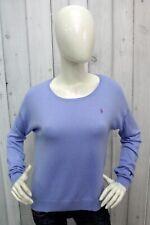 RALPH LAUREN Taglia L Maglione Donna Blu Sweater Lana Pullover Woman Maglietta
