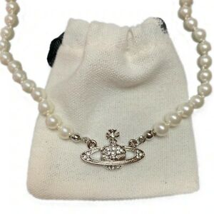 Silver Vivienne Westwood Mini Bas Relief Pearl CHOKER Necklace with Orb