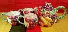 1988 Fitz & Floyd Calypso Fruit Teapot, And 3 Oci Fruit Cups