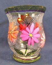 Pink Daisies Votive Candle Holder Hand Painted Crackle Glass Home Decor  A