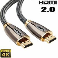 2m Braided Premium HDMI Cable Lead v2.0 Gold High Speed HDTV UltraHD 4K 2160p 3D