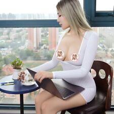 Ladies Sheer Striped Dress Micro Mini Tube Bodycon See Through Nightdress Tight