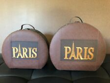 2 Paris Hat Boxes Vintage Leather