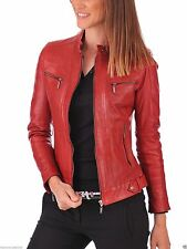 Red Women's Lambskin soft Real Leather Jacket Motorcycle Slim fit Biker Jacket
