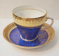 Royal Grafton Vintage Bone China Tea Cup Saucer Blue Gold Pattern Trim England