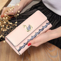 Luxury Women Faux Leather Clutch Wallet Long Card Holder Swan Purse Handbag Bags