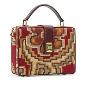 Patricia Nash RED Tauria Tapestry Box Satchel with Leather Trim NWT! RETAIL $200