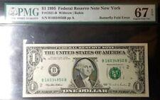"""Wow"" A $1 1995 Frn ""New York"" Butterfly Fold Error Pmg 67 Epq"