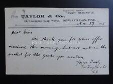 Newcastle de Tyne Taylor & Co, San Lorenzo Jabón trabajo C1905 enteros postales Pc