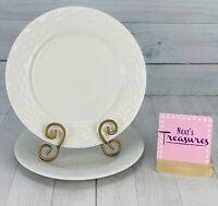 Gibson SARASOTA Basket Weave Rim Embossed All White Stoneware Dinner Plate Set 2