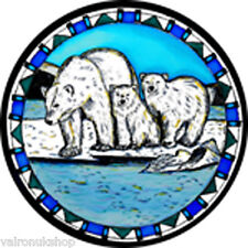 STAINED GLASS WINDOW ART - STATIC CLING  DECORATION - POLAR BEARS