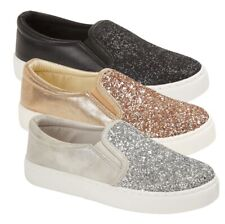 Womens Glitter Canvas Pumps Low Top Trainers Casual Ladies Jewel Shoes Size