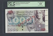 Switzerland 1000 Francs ND(1954-74) P52s Specimen TDLR Uncirculated