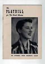 An Evening with Beatrice Lillie - 1953 Playbill from The Booth Theatre, NYC