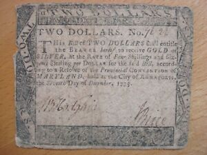 1775 TWO DOLLARS $2 MARYLAND CONTINENTAL COLONIAL CURRENCY MD-86 NOTE FREE SHIP