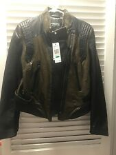 leather jacket womens dark green Large Regular