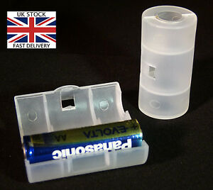AA to C Size Battery Converter Adapter Case 2Pcs-UK STOCK