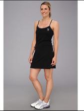 PUMA FERRARI Logo Women's Slip-on Dress Black Cotton Modal Spaghetti Straps Sz L