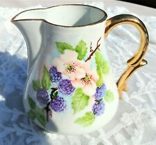 Antique * ~ Hand Painted  ~ * PITCHER *Signed* Berries Gold Trim 5-3/4