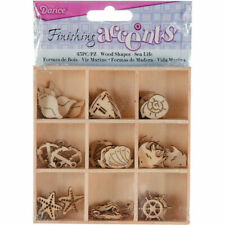 Wooden Crystal Snowflakes Ornaments for Craft Projects and Present Wrap Tags YuQi 45 PCS Wooden Festive Scrapbooking Embellishments Sets with Storage Box Mini Laser Cuts Wood Shapes