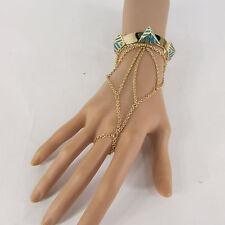 Women Gold Metal Blue White Orange Pyramid Bracelet Hand Chain Fashion SlaveRing