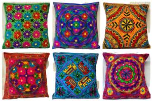 60 x 60 CM Indian Suzani Mandala Wool Embroidered Boho Handmade Cushion Covers